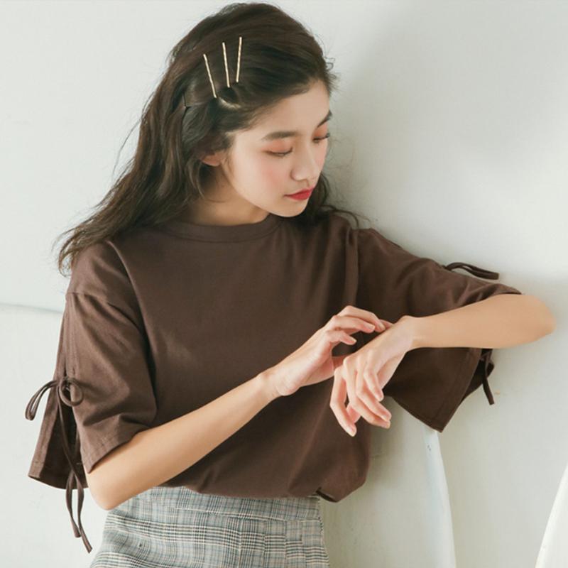 t恤短袖女夏装2019新款韩版小清新宽松纯色圆领绑带开叉袖口上衣