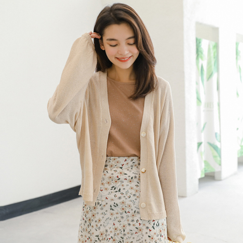 New Korean version joker small pure and fresh and contracted show thin pure color cardigan long sleeve sweater knit coat woman