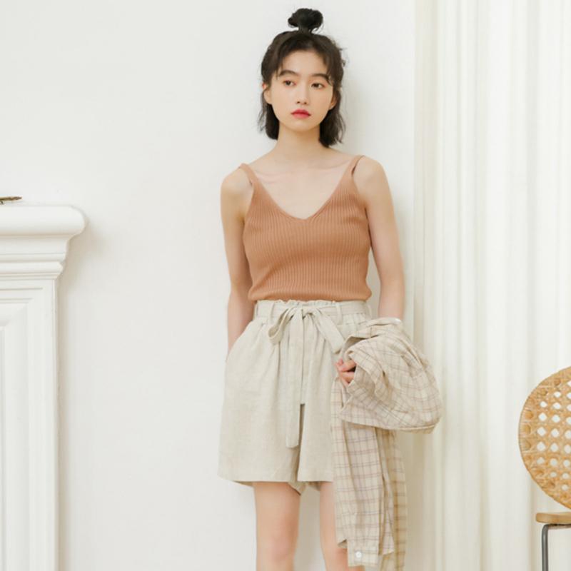 Stylish three-piece summer 2019 new Korean checked shirt sunblock + halter top + high-waisted bud shorts