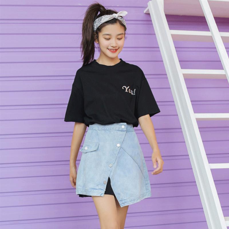 Chic new 2019 summer chic long T-shirt + denim skirt two-piece dress