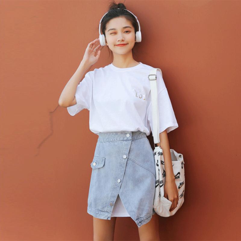 韩版短袖套装女2019夏季新款chic长款T恤 +牛仔裙两件套连衣裙