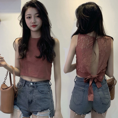 Backless sexy inside and out wearing small vest girl 2019 spring and summer new slim versatile short base shirt top trend