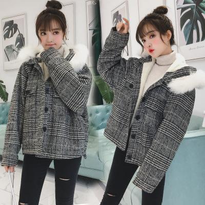 羊羔绒呢子外套女秋冬韩国小个子大毛领格子ulzzang冬季毛呢大衣