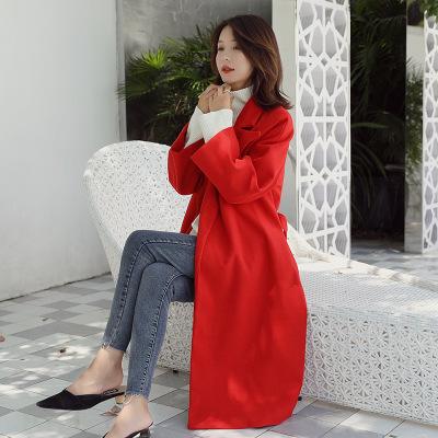 赫本风毛呢大衣女2019秋冬新款中长款韩版系带过膝加厚流行外套潮