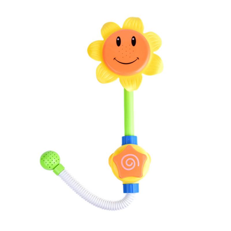 马博士宝宝洗澡玩具向日葵花洒手动喷水 婴儿沐浴游泳戏水玩具