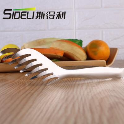 斯得利多功能不锈钢食物夹 梳子形状食品夹 西餐意粉面包夹现货