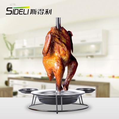 圆形带手柄烤鸡盘 洒店餐厅带底盘烤鸡架 不锈钢跳舞钢管烤鸡盘