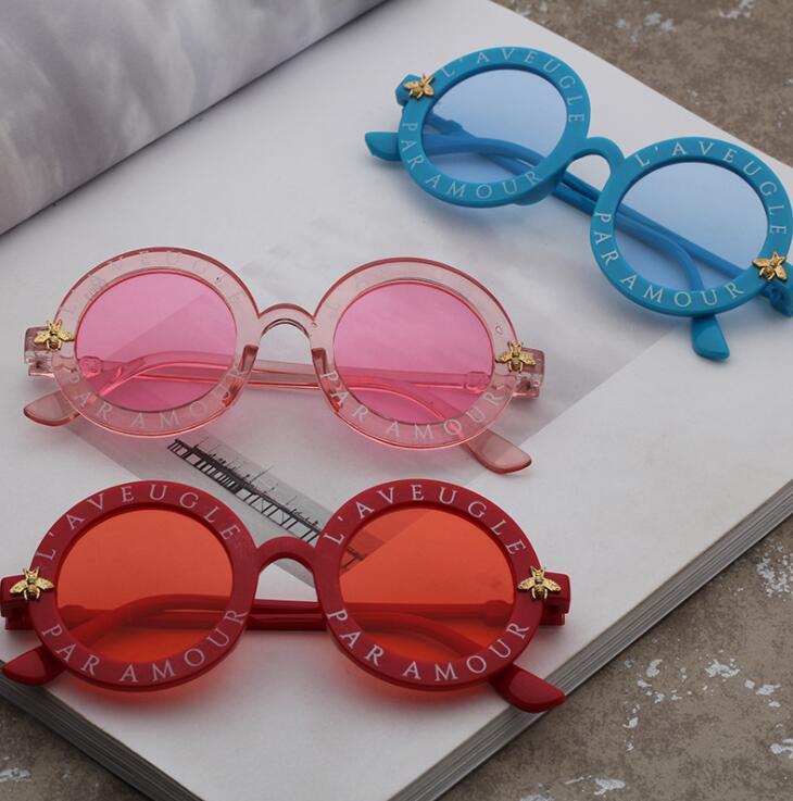 厂家直销2019新款男孩女童太阳镜 儿童卡通圆形蜜蜂墨镜 太阳眼镜