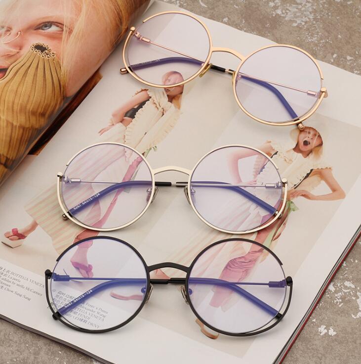 复古圆形金属配近视眼镜框架2019新款男女平光镜