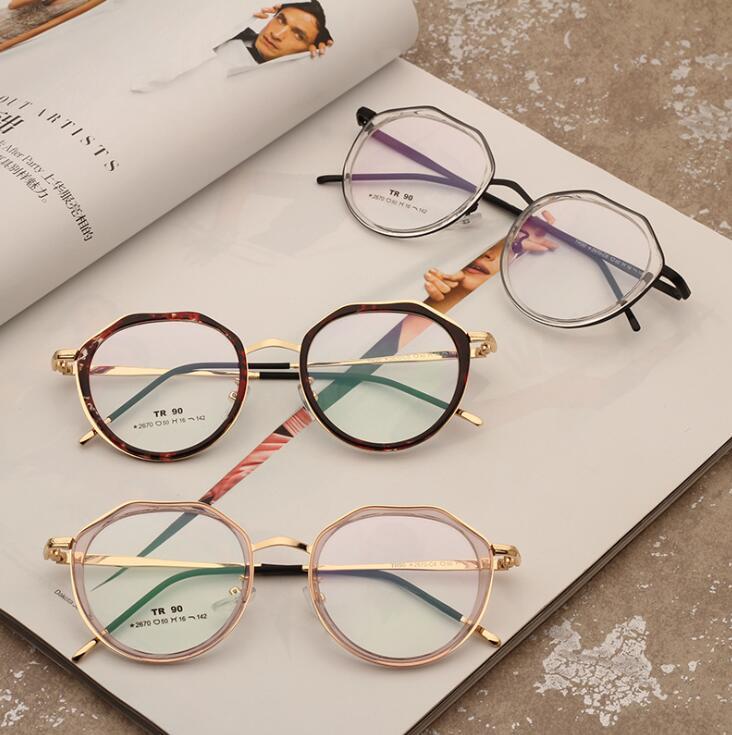 厂家直销tr90框金属套圈配近视眼镜架 2019新款男女士复古 全框架