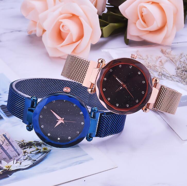 热卖米兰带女士手表爆款韩版时尚简约磁铁扣懒人星空手表女款