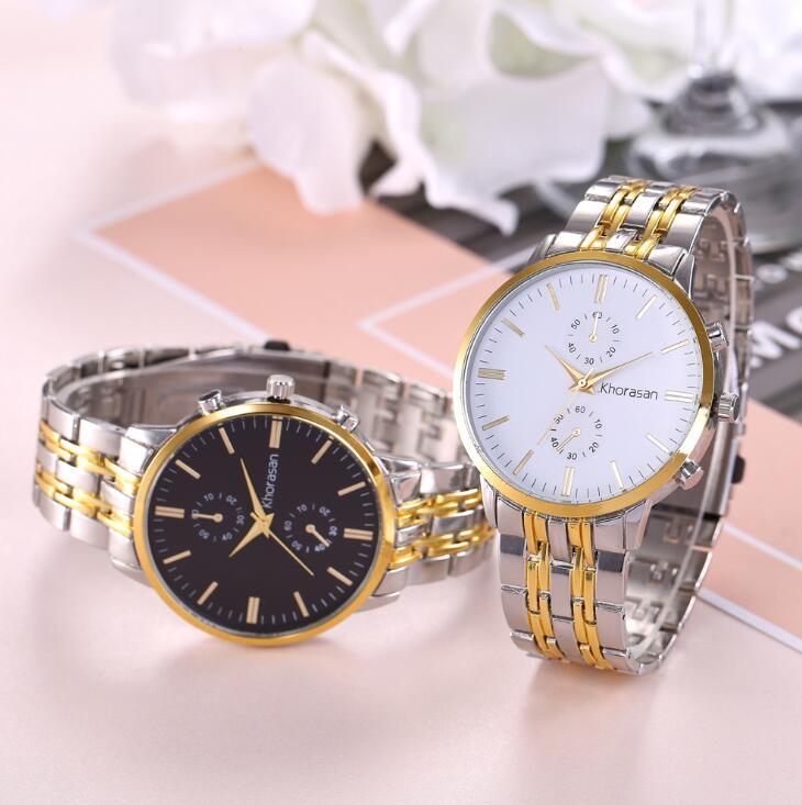 赫罗珊时尚男士合金钢带手表 男款商务石英表