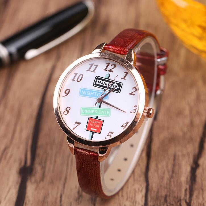 Sloggi仙乐娇新款时尚个性细表带女士手表 指路标花纹女款石英表