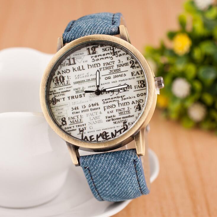 欧美热卖时尚潮流石英手表男女士同款皮带手表表盘个性英文手表女