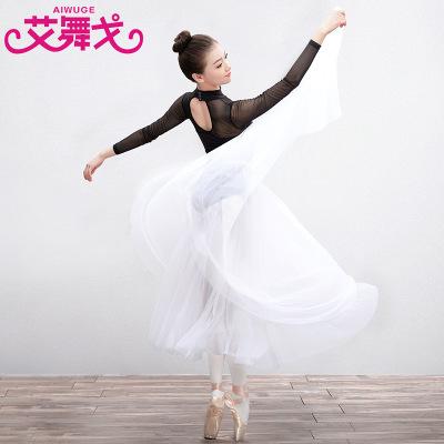 成人芭蕾舞裙舞蹈练功服女长款教师裙半身软纱裙芭蕾写真裙基训服