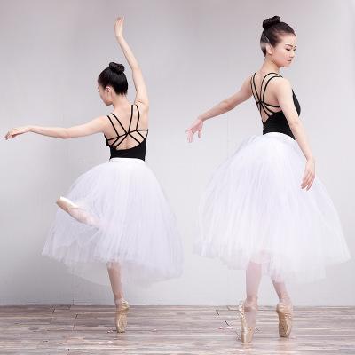 芭蕾半身成人女表演服装练功带内裤百搭蓬蓬白色软纱TUTU裙 长裙