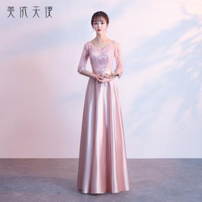 2019新款香槟色韩版长款伴娘服批发 姐妹团伴娘礼服新娘敬酒服女
