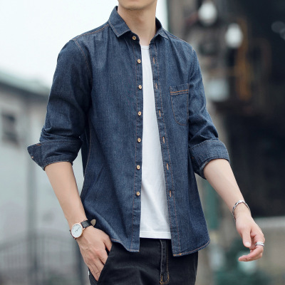 PEPP恩步男士长袖休闲牛仔衬衫复古韩版文艺牛仔外套男士衬衣男装