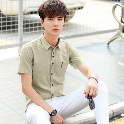 Pepp恩步夏装男式衬衫韩版修身亚麻短袖男士衬衣 衬衫男装批发