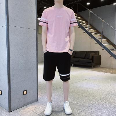 短袖男夏季新款韩版潮流两件套男士运动服男式休闲运动套装男