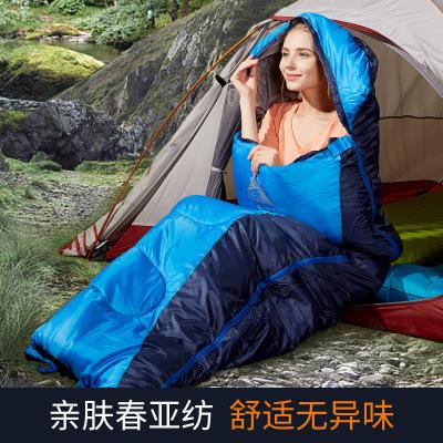 公狼户外信封式春秋冬季成人露营睡袋棉质午休保暖被野外露营睡袋