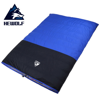 Male Wolf outdoor adult double down sleeping bag high quality split thickened down sleeping bag for warm autumn and winter