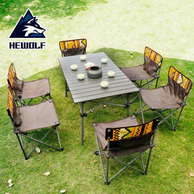 Male Wolf outdoor folding table and chair set portable picnic table set of 7 pieces outdoor road trip leisure table and chair