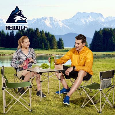 公狼户外折叠桌椅5件套 便携收纳凳子野营休闲桌铝合金组合套装