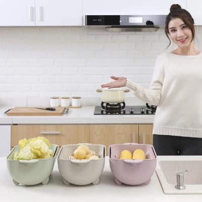 美安居双层洗菜篮塑料家用水果盘洗菜篮子沥水篮淘米器厨房沥水盆