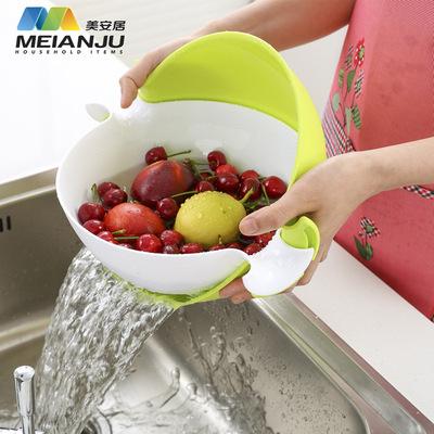 美安居多功能旋转沥水篮塑料圆形双层水果篮洗菜篮厨房用品热销品