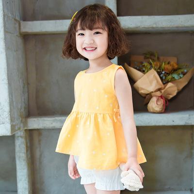 诗米克品牌童装2019夏季新款不规则下摆小鸡黄波点无袖女童套装