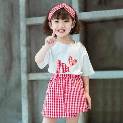 诗米克品牌童装2019夏季新款卡通绣花短袖T恤+红格半身裙女童套装