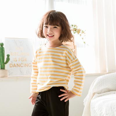 诗米克品牌童装2019春季新款条纹宽松女童卫衣后背卡通印花卫衣
