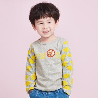 诗米克 春秋上衣 柠檬字母印花男童长袖T恤
