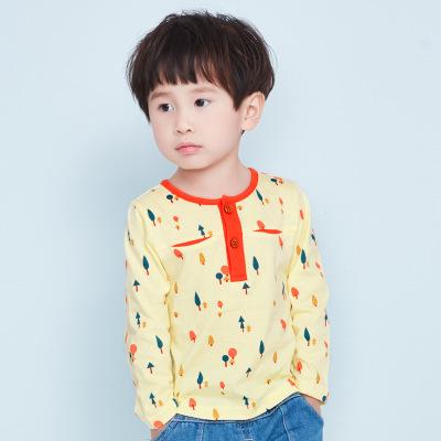 诗米克 春秋上衣男童长袖T恤满印撞色领口打底衫