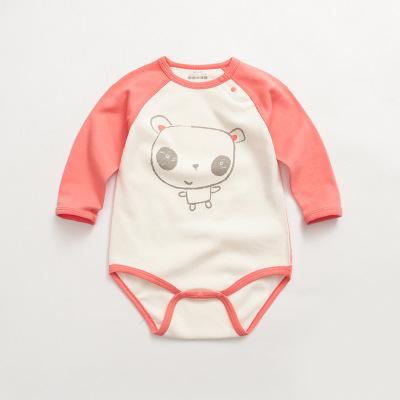 诗米克 秋款童装连身衣三角爬服包屁衣熊猫印花宝宝连体衣