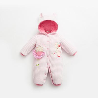 诗米克2019冬季新款加厚婴儿爬服男女宝宝夹棉哈衣卡通小兔棉爬衣