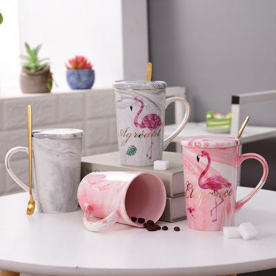 欧式大理石纹马克杯 家用牛奶咖啡杯创意描金边陶瓷杯子情侣对杯