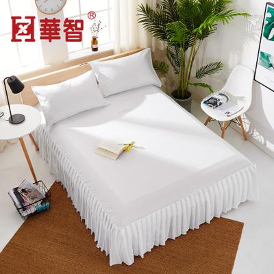 欧式白色床上百褶床单床裙酒店1.8米床笠磨毛纯色美容床罩