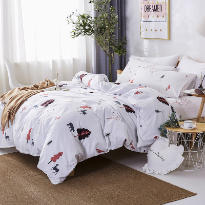 Aloe cotton active worsted bed linen four - piece double it set and three - piece bed sheet set 1.8 m bedding in the dormitory