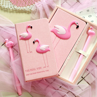 Zakka lovers flamingo notebook set in a gift box