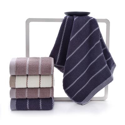 32股条纹纯棉加厚毛巾批发 商超礼品情侣成人洗脸巾柔软面巾定制