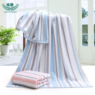 纯棉浴巾 吸水条纹素色家用洗澡巾加大加厚70*140厂家现货批发