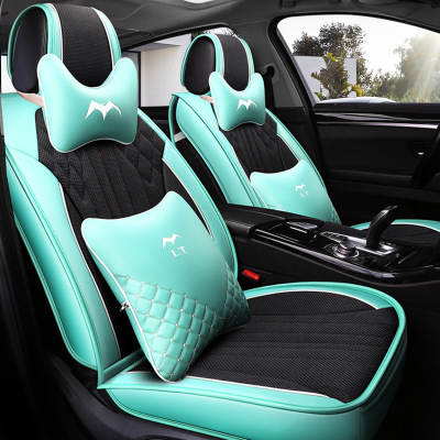 New all-inclusive 5d leather seat cover sandwich four seasons car cushion able ice silk car seat cool seat cover