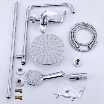 铜升降花洒套装带置物架 增压节水 浴室沐浴冷热花洒淋浴器水龙头