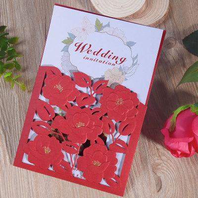 红色结婚请柬镂空高端定制中国红中式喜帖婚艺用品批发一件代发