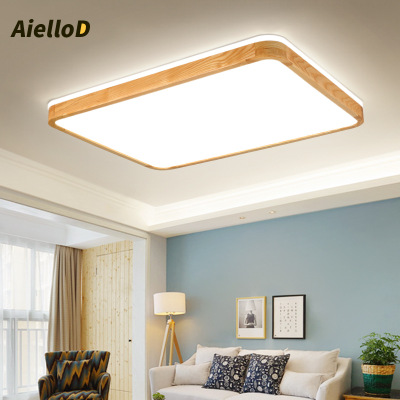 Nordic solid wood living room lamp led ceiling light rectangular log dining room lamp study bedroom lamps wholesale