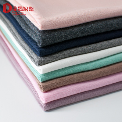 32 s 1 * 1 rib worsted knitted fabric wool wool brushed cotton fabric of autumn and winter primer t-shirts fabric