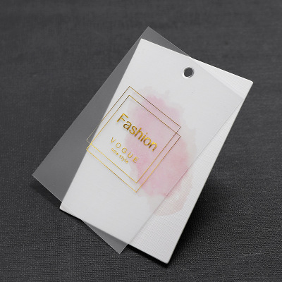 Clothing tag custom translucent PVC women's wear tag personality simple leni grain note custom LOGO