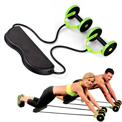 安全专业多功能拉力器双轮健腹器拉力绳健腹轮塑健身质量保证批发
